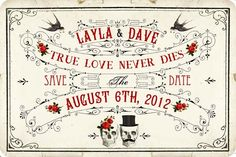 DIY Printable Save The Date Cards - Digital Download - Antique Art Deco Skull Day of The Dead Vintage Wedding - Personalized - Black Red. $10.00, via Etsy.