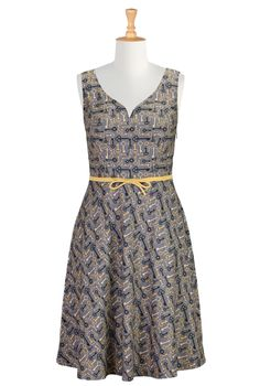 Vintage Key Print Dresses, Sweetheart Dresses Women's designer dresses - Day dresses, casual dresses, maxi dresses, caftans - | eShakti.com