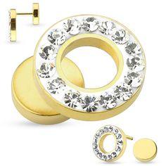 Faux piercing tunnel doré et cristal blanc Vafu - € Faux Piercing, Crystal, Plant Stem, Yellow, Steel, Ear, White People, Color