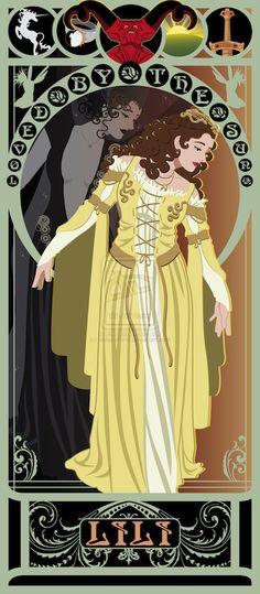 "Mucha Style - "" Art Nouveau Posters of and Movie Heroines: ""Legend"" Illustration in style of ""Alphonse Mucha"" Alphonse Mucha, Non Disney Princesses, Princess Disney, Marvel Comics, Art Nouveau Poster, Last Unicorn, Inspiration Art, Beautiful Series, Beautiful Artwork"