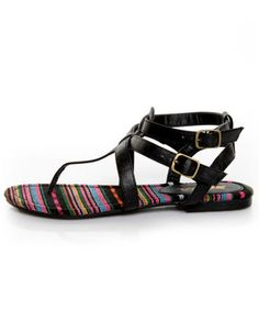 Soda Tam Black T & Ankle Strap Thong Sandals - $19 - the soles on these are super cute!