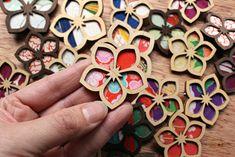 Custom Laser Cut Wood and Vintage Kimono Fabric