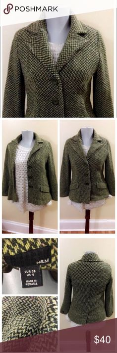 H&M • Blazer Coat Lime Brown Zigzag Poly Wool H&M • Blazer Coat Lime Brown ZigZag Print Poly Wool Blend. Super warm great for fall & winter months can be dressed up or down. In great condition. Gentle worn no from pet and smoke fee home. H&M Jackets & Coats Blazers
