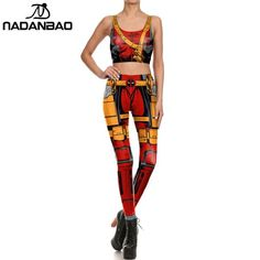 #FASHION #NEW NADANBAO Brand New Arrival Dead pool Leggings 3D Printed Comic Set For Women fitness