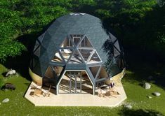 {home decor apartment checklist Geodesic Dome Greenhouse, Geodesic Dome Homes, Hotel Floor Plan, Dome Tent, Sustainable Architecture, Residential Architecture, Contemporary Architecture, Dome House, Natural Building