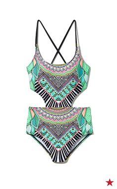 c3f96440d2 Bar III Flocked Together Cutout Monokini Swimsuit