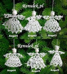 Itty Bitty Angels pattern by Jo Ann Maxwell - Her Crochet Shuttle Tatting Patterns, Needle Tatting Patterns, Knitting Patterns, Tatting Jewelry, Tatting Lace, Tatting Tutorial, How To Make Rings, Christmas Crafts, Christmas Ornaments
