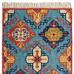 DIAMOND SUNRISE KILIM RUG, presented by Robert Redford's Sundance Catalog. A palette of faded blues and oranges makes this 'Diamond Sunrise' kilim rug, crafted by expert weavers in a traditional design, so cheery and welcoming.