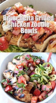 cooking tips - Fresh, light and healthy, these Bruschetta Chicken Zoodle Bowls are perfect for easy meal prep And great for those on a gluten free or low carb diet The balsamic marinated grilled chicken is served over zucchini noodles with fresh tomato b Healthy Snacks, Healthy Eating, Healthy Chicken Recipes For Weight Loss Clean Eating, Healthy Recipes For One, Clean Eating Meals, Easy Healthy Lunch Ideas, Heart Healthy Meals, Gluten Free Lunch Ideas, Healthy Low Carb Meals