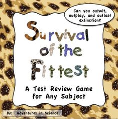 Survival of the Fittest is a super fun game that a whole class can play to review for a test. Students write their own questions the night before so teacher preparation is minimal! I have been playing this game for years and my students LOVE it. The day of the game, the class is divided into two teams who compete against each other to see who can outwit, outplay, and outlast extinction! $
