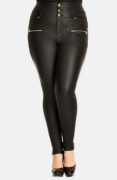 City Chic 'Pick Me Up' Stretch Skinny Jeans (Black) (Plus Size) ***heavy breathing...WANT!!***