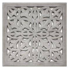 "Carved Wood Panel 18""x18"" - Grey : Target"
