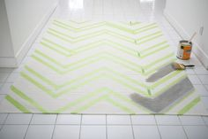 DIY chevron painted rug.