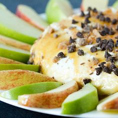Going to make this for our next games night. Salted caramel cheesecake dip with apples. Sounds healthy and guilty :)