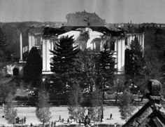 This photo, taken from the roof of a Willamette University building across the street, gives a general view of the front of the Oregon capitol buil...