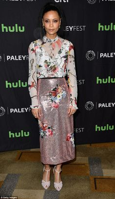 Eye-catching: Thandie Newton, 44, shimmered in a sequin pencil skirt and patterned blouse ...