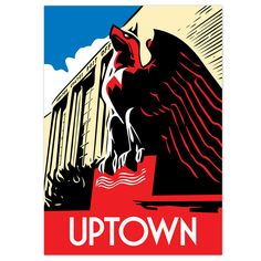 Chicago neighborhood poster featuring the sharply-chiseled eagle sculpture outside the Uptown Station Post Office. Also available as a greeting card About the Artist Local artist Chris Gorz of StudioC