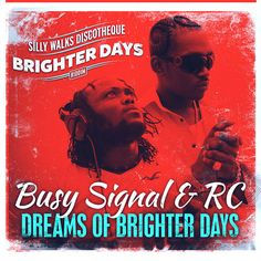 "Mad new single from Busy Signal alongside RC! ""Dreams Of Brighter Days"" is recorded on the ""Brighter Days"" Riddim, produced by Silly Walks Discotheque, and Busy Signal, Best Memories, Reggae, New Music, Positive Vibes, Bright, Dreams, News, Day"