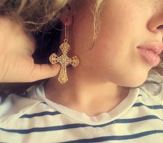 Madonna 80s Style Large Cross Earrings~ Quality Gold n Crystal~ 1980's Look Fashion Costume Accessories~ Punk Eighties Gothic Jewelry