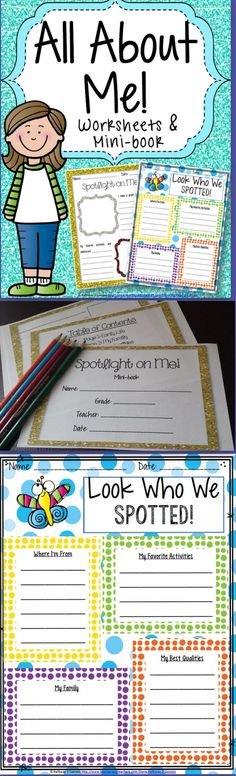 52 best 4th Grade images on Pinterest   Common core math  Common     All About Me   Back to School Worksheets   Mini Book