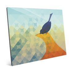 "Click Wall Art Bird on Persimmon Gourd Graphic Art on Plaque Size: 20"" H x 24"" W x 1"" D"