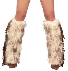Free Ground Shipping within the continental United States The Brown Furry Fringe Legwarmers are a costume accessory designed to pair with our women's Groovy Baby Hippie Costume. This pair of furry leg warmers features white faux mohair frosted with dark brown and faux suede fringe on the outseam. They extend from below the knee to the top of the foot and a top elastic band keeps them secure. Made of faux suede and acrylic faux fur, our popular furry leg warmers are proudly made in the ...