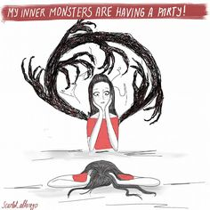 inner monsters by  Scarlet_alterego for ofredandothercolors https://ofredandothercolors.wordpress.com/ Character design, webcomic, cartoon, girl character, self, diary comic strip, cartoon, funny, illustration, ofredandothercolors, scarlet_alterego, of red and other colors, monster, inner monsters, innerstrugggle