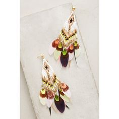 Gas Bijoux Quetzal Beaded Earrings ($328) ❤ liked on Polyvore featuring jewelry, earrings, novelty, earring jewelry, beads jewellery, gas bijoux, beading jewelry and cocktail jewelry
