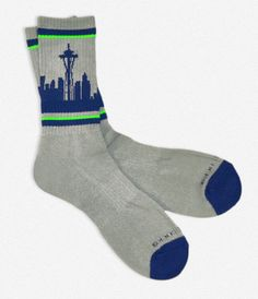 SEATTLE SKYLINE SOCKS - WOLF GRAY, NAVY & LIME. Necessary for my life.