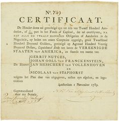 Vereenigde Staaten van #America - Liquidated Debt Amsterdam, 1 November 1789, Liquidated Debt for 1/1,200th part in het Fonds Capital (120,000 Gulden, 840,000 Gulden Liquidated Debt), #749, 21.1 x 20.6 cm, black, beige, folds, tears repaired with tape, condition VF, printed on handmade paper. One of the first proofs of the solidity of US-Treasuries. A rarity from an old collection!