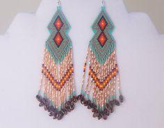 Native American Beaded Turquoise Copper Diamond Earrings