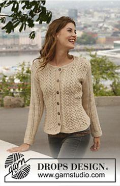 Ideas for crochet sweater cardigan pattern drops design Knit Cardigan Pattern, Sweater Knitting Patterns, Lace Knitting, Knitting Stitches, Knitting Designs, Knit Crochet, Sweater Cardigan, Drops Design, Lace Patterns