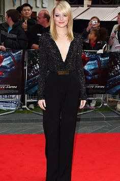 """Emma Stone turned up the heat in an embellished Elie Saab jumpsuit with a revealing plunging neckline, at the London premiere of her latest film, The Amazing Spider-Man."""