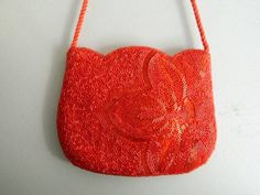 Vintage 1960s Red Glass Beaded Handbag with Floral Pattern / Hand Beaded Hong Kong Floral Purse by VintageBaublesnBits on Etsy
