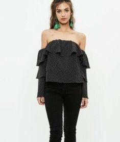 c0e8a464051 BNWT Missguided Polka Dot Black White Bardot Top 10 #fashion #clothing  #shoes #