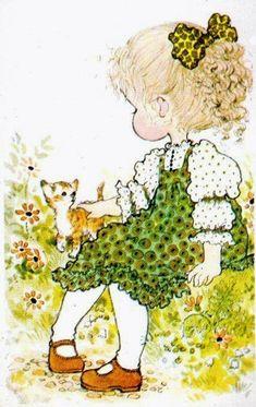 Sarah Kay with kitten Sarah Key, Holly Hobbie, Mary May, Vintage Drawing, Australian Artists, Cute Images, Cute Illustration, Illustrations, Vintage Cards
