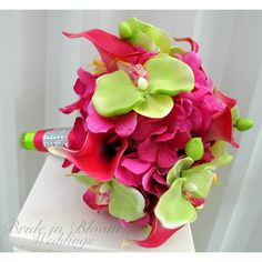 Wedding Bouquet Hot Pink Calla Lily Lime Green Orchid Tropical Bridal... (1,590 MXN) ❤ liked on Polyvore featuring accessories, bouquets, decorations, grey, weddings, flower corsage and hot pink corsage