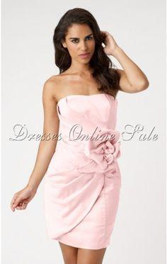 Elegant Pink Sheath Short Satin Strapless Dress With Floral