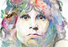 Jim Morrison Print From My Original Watercolor Portrait Painting - The Doors Poster - Rock Music - 70's Music - Rock 'n Roll - Wall Art Home Decor - Unique & One Of A Kind Art - Printable Art - Outsider Art - Marina Sotiriou