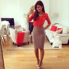 I like this type of skirt for suits or with a blouse, above the knee looks better on me