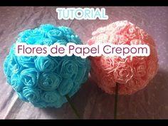 Bola de flores de Papel Crepom || TUTORIAL - YouTube