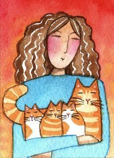 Original ACEO Art/ Cat Lady & Orange by SusanFayePetProjects