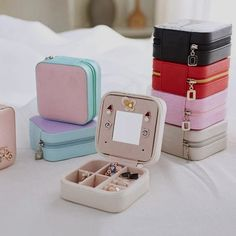 Portable Travel Jewelry Storage Box Leather Earring Rings Stoage Container Specifications: Feature: Fine workmanship, practical and convenient. Material: Leather Color: As picture Size: Approx. Jewellery Storage, Jewelry Organization, Leather Earrings, Ring Earrings, Leather Jewelry, Cute Jewelry, Jewelry Box, Jewelry Necklaces, Travel Accessories