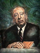 Hitchcock by Clark North Alfred Watercolor Portrait Tattoo Artwork Giclee Print