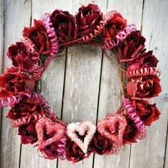 Pretty Valentine's day wreath of metal roses!