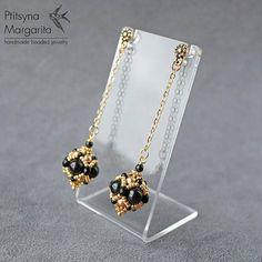 Long chain earrings beaded earrings with swarovski pearl black