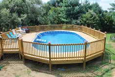above ground pool deck ideas | Beautiful Backyard With Exterior Designs Using Awesome Above Ground ...