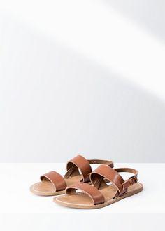 Skórzane sandały z pasków | MANGO