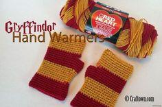 Free Crochet Pattern - Gryffindor Hand Warmers