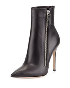 S07DP Gianvito Rossi Leather Pointed-Toe Bootie, Black